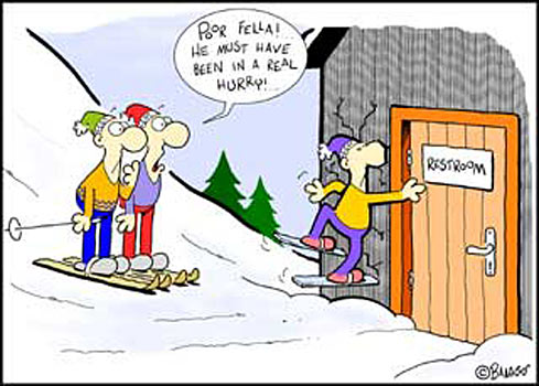 Funny holiday ecard with skiier in to much of a hurry!