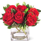 Brighten someone's day with this charming compact bouquet of six or more red roses in a glass cube or vase. A sweet treat that's perfect for a birthday, budding romance, thanks, or thinking of you. USA and Canada FTD delivery.