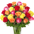 Send a stunning message of love with this eye-catching combination of two dozen assorted color roses designed and delivered in a handsome glass vase. Bold, beautiful, and sure to please! Same day and next day florist delivery in the USA and Canada.