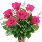 Six beautiful pink roses arranged with greens and delicate accents to express your admiration, appreciation, gratitude, or caring. Great for almost any occasion! Shade of pink may vary. Prices vary according to stem length. Same day and next day florist delivery throughout the USA and Canada.