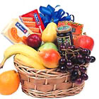 A great corporate or thank-you gift, this tasty basket features a savory combination of assorted snacks and goodies with seasonal fresh fruit, too. Each is custom made to be a unique gift.