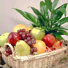 Fresh Fruit Basket with Green Plant
