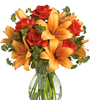 Fiery Lily and Roses Vase #T0472