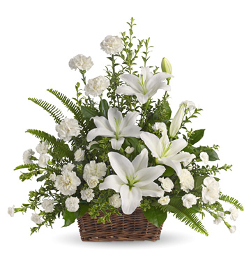 Peaceful White Lilies Basket (Sympathy)