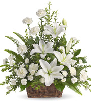 Peaceful White Lilies Basket #T2281