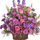 This lovely sympathy flowers basket features a soothing combination of seasonal fresh flowers, such as roses, carnations, larkspur, asters, monte cassino, or similar, in pretty pink, lavender and purple hues. A beautiful way to express your deepest sympathy and pay tribute to someone special. Appropriate for wakes, funerals and memorial services. USA and Canada delivery.