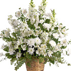 Heavenly Light Funeral Flowers Basket