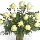 Dozen White Roses Vased
