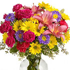Send your warmest wishes or congratulations with this colorful mixed bouquet of seasonal fresh blooms in cheery yellow, pink, and lavender hues. Featured flowers include roses, lilies, daisies, asters, or similar favorites. Designed and delivered in a glass vase. A celebration! Same day and next day florist delivery in the USA and Canada.