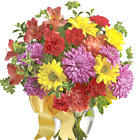 Catch someone?s eye with this colorful combination of fresh seasonal blooms in red, purple, lavender, and orange hues. Featured flowers include astroemeria, carnations, daisies, chrysanthemums, or similar hearty favorites. Designed and delivered in a glass vase. Great for a birthday, get well, thanks, or just because. USA and Canada florist delivery.