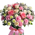 A pretty pink and white bouquet featuring roses, miniature roses, button poms, mini carnations, and limonium, or similar fresh flower favorites, designed in a quality glass vase. Popular for love, Valentines, Mother's Day, Sweet 16, or any caring occasion. Nationwide local florist delivery in throughout the USA and Canada.