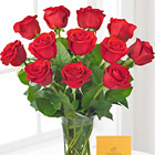 Red Roses Bouquet with Chocolates
