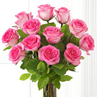One Dozen Pink Roses with Vase