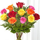 Simply Cheerful Rose Bouquet with Vase