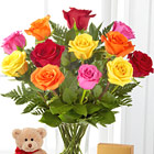 Mixed Roses with Bear, Chocolates and Vase