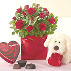 Valentines Mini Rose with Chocolates and Plush Puppy