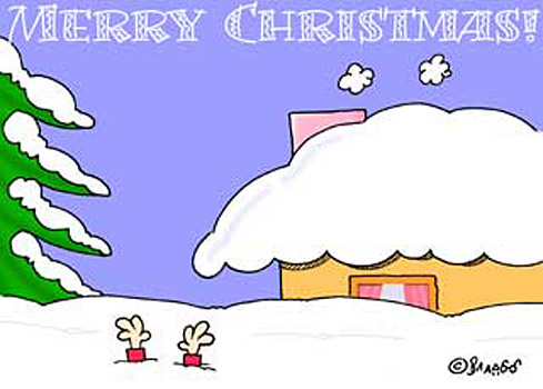 Funny winter holiday Ecard with snowed in house