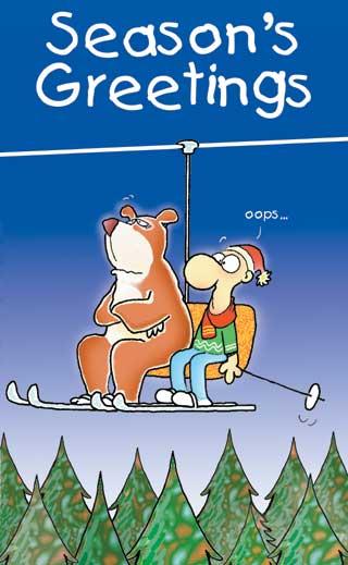 Seasons Greeting Ecard for Skiers
