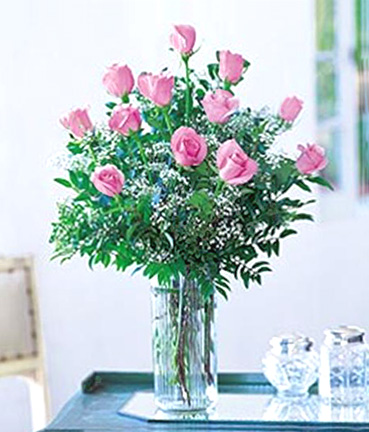 One Dozen Roses with Accents Vased