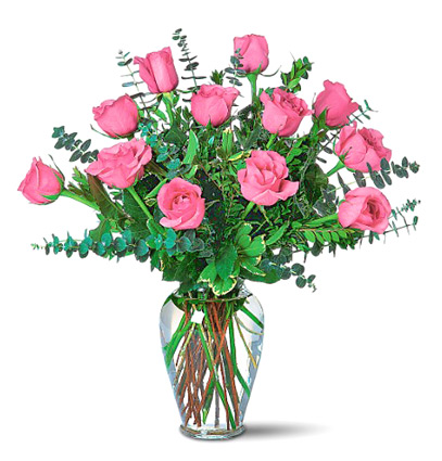 Dozen Pink Roses Vased Bouquet