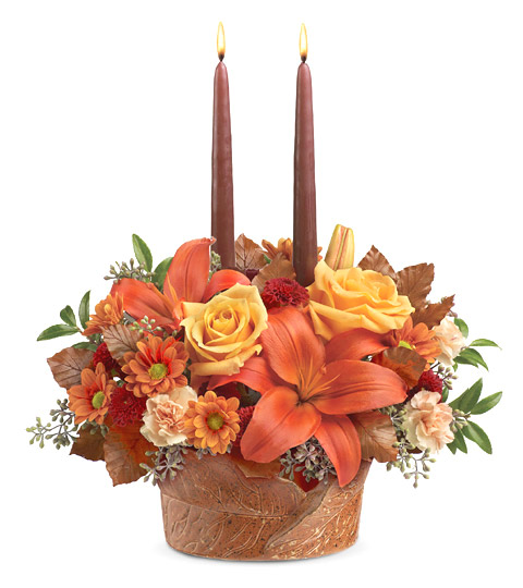 - Teleflora� Wrapped In Autumn Centerpiece