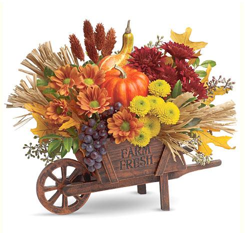 Teleflora Rustic Charm Farm Fresh Wheelbarrow Bouquet