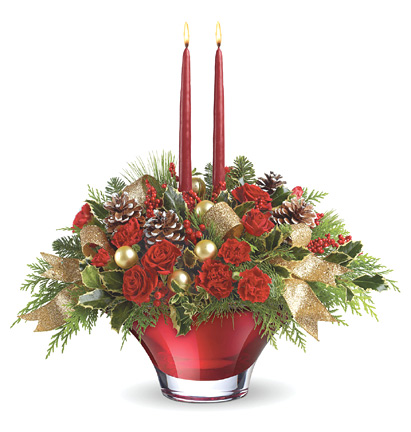 - Teleflora� Holiday Flair Centerpiece