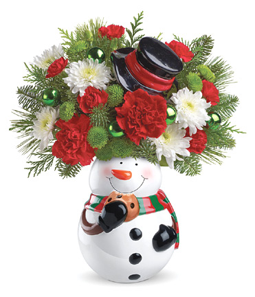 - Teleflora� Snowman Cookie Jar Bouquet