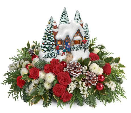thomas kinkade country christmas centerpiece by teleflora