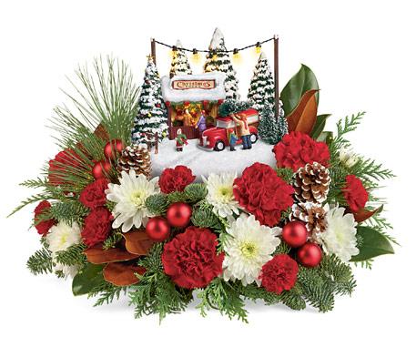 Thomas Kinkade Christmas Floral Arrangement 2020 Thomas Kinkade Family Tree Bouquet   Christmas Flowers Delivery