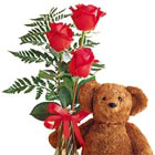 Teddy Bear and Roses Bud Vase