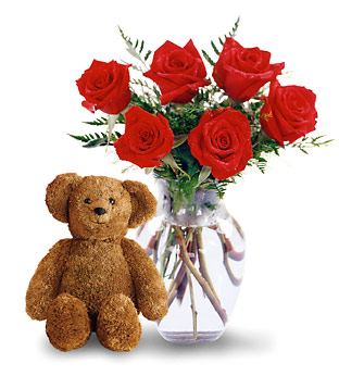Valentines Day Roses and Teddy Bear