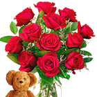FTD® Dozen Roses and Teddy Bear