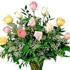 Mixed Pastel Roses Vase