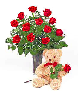 Dozen Rose Vase and Teddy Bear #P209X
