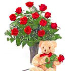 Dozen Roses Vase and Teddy Bear