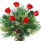 Holiday Half Dozen Roses Vase