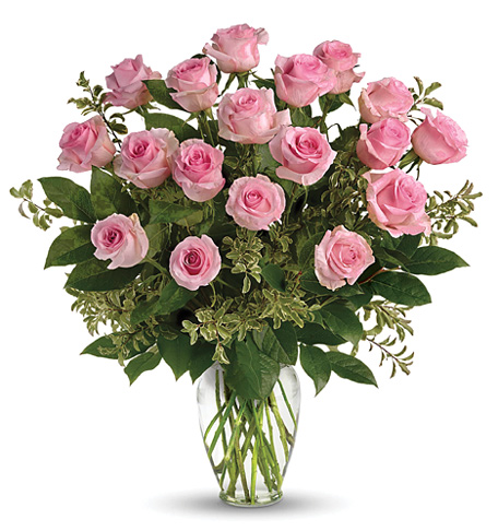Eighteen Pink Roses Vase
