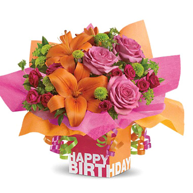 Teleflora Rosy Birthday Present Flowers Bouquet