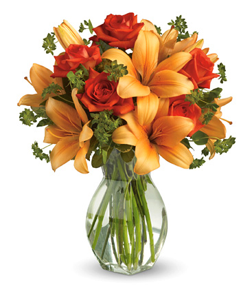 Fiery Lily and Roses Vase