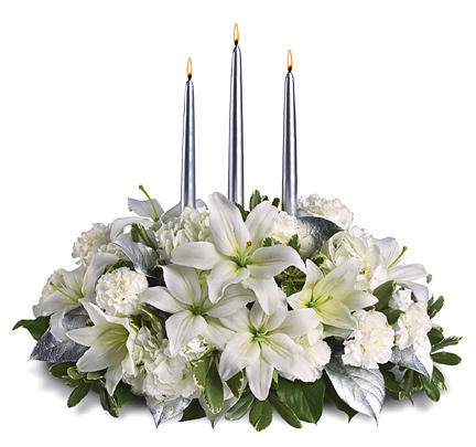 Silver and White Candle Centerpiece at 1-800-FLORALS Florist