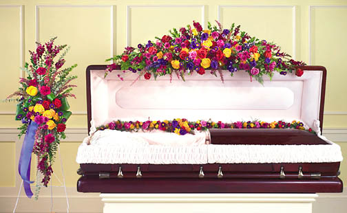vivid hues full open casket setting # t145y adorn the casket with this