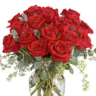 Full Heart Red Roses Vase