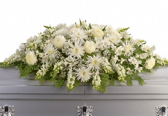 Casket spray of heavenly white funeral flowers enduring light casket spray mightylinksfo