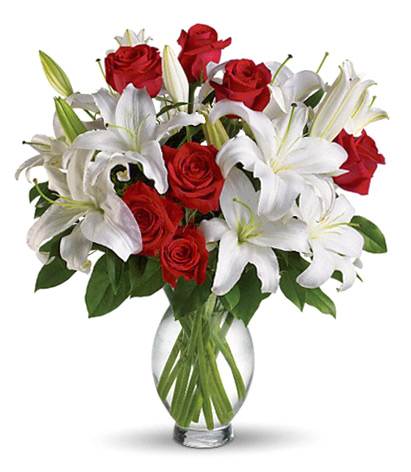 Red Roses And White Lilies Vase Nationwide Florist Delivery