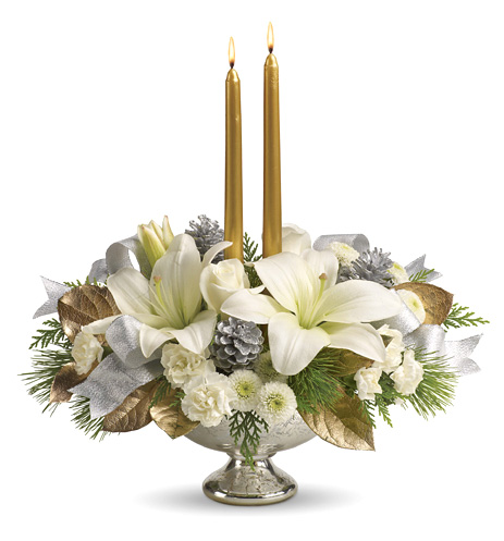 Teleflora� Silver and Gold Centerpiece