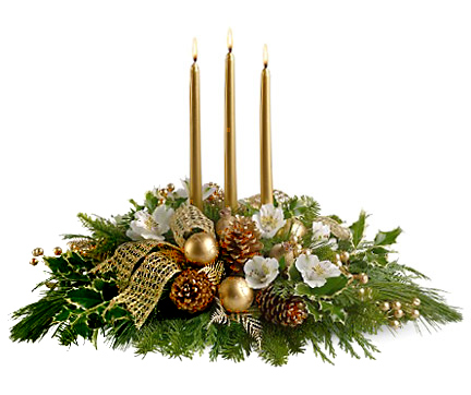 Christmas flowers centerpiece 1 800 florals flower delivery - Couronne centre de table noel ...