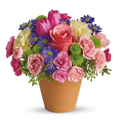 Spring Flower Pot Bouquet By 1 800 Florals Flower Delivery