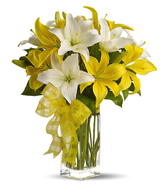 Yellow and White Lilies Vase