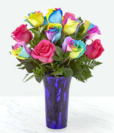 Time to Celebrate Rainbow Roses with Vase